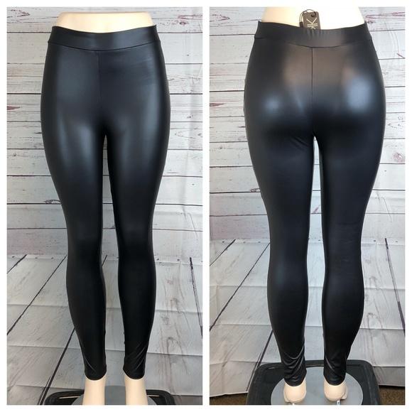 aeabc5753dccba Kardashian Kollection Pants | Black Wet Look Leggings | Poshmark